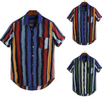 Men's Casual Striped Summer Short t Sleeve Retro T Shirts Tops Blouse Loose Fit
