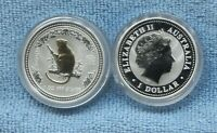 2004 Australia Lunar Year of the Monkey 1oz Silver Gold Gilded Coin in capsule