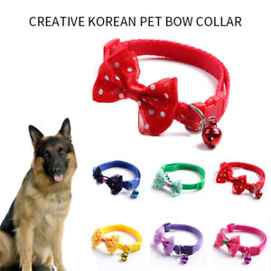 Dog Cute Bow Collar Tie Check Adjustable Bell Pet Puppy Small Cat Scarf Collars