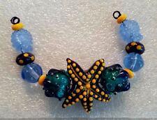 HANDMADE SRA Lampwork Glass Bead Set Ocean Starfish Ammonite Pale Blue Aqua