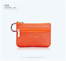Unisex Mini Leather Small Zip Coin Purse Key Ring Party Wallet Pouch Purse Bag