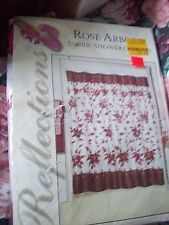 "Fabric SHOWER CURTAIN BURGUNDY & white 70"" X 72"" Floral  ROSE, roses Flowers NEW"