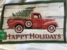 Vintage Red Truck With Christmas Tree Door Mat Rug Rustic Happy Holidays 17 x 27