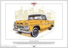 Chevrolet C10 pickup-fin art imprimé-A3 taille - 1960 chevy 2WD demi-tonne camion