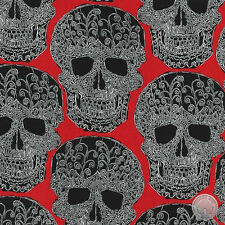 Michael Miller Art Skulls Filigree Red Damask Cotton Fabric by the Yard