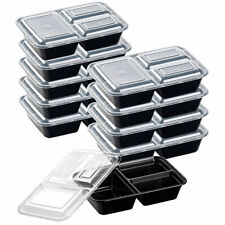 10er-Set Lebensmittel-Boxen mit je 3 Trennfächern & Deckel, 1,2 l