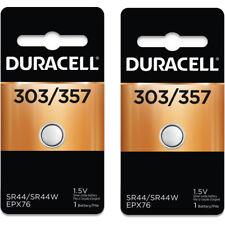 2 Pcs Duracell 357 303 A76 PX76 SR44W/SW LR44 AG13 Silver Oxide Battery
