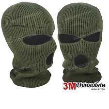 Balaclavas Green Mask 3 Hole Winter SAS Style Army Ski Hat Neck Warmer Thermal