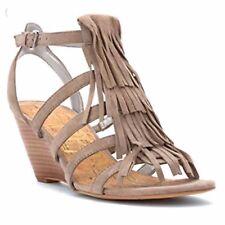 5bc434bb9136ba Sam Edelman Sandra Womens Size 7M Putty Suede Fringe Strappy Wedge Heels  Sandals