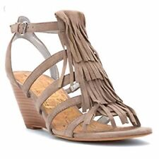 f533e00034af6 Sam Edelman Sandra Womens Size 7M Putty Suede Fringe Strappy Wedge Heels  Sandals