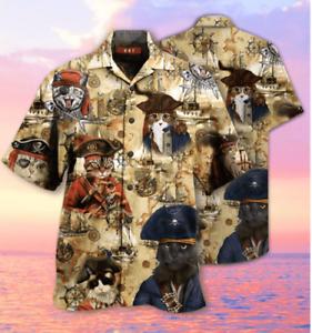 Cat Pirate HAWAII SHIRT 3D HAWAIIAN SHIRTS FOR MEN SIZE S-5XL SHORT SLEEVE