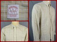 Brooks Brothers Tan Beige Check Mens Dress Casual Irish Linen Shirt Button Down