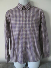 BLUE HARBOUR - PURPLE Checked Long Sleeved B/DOWN 100% Cotton Shirt Size Med
