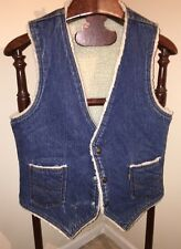 Vintage LEVI'S Blue Jean Trucker Denim Vest Sherpa Lined Western Orange Tab SZ M
