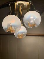 Vintage Italian Mazzega Flush Mount Chandelier Gold and Murano Glass Light 1970s