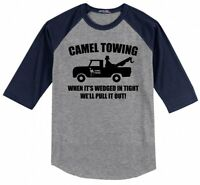 Camel Towing Rude Humor Funny Mens Raglan Jersey Tee Shirt Truck Parody Gift X1