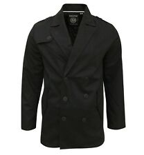 SoulStar Men's Trench Mac Jacket Coat black