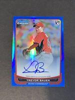 2012 Bowman Chrome Blue Refractor /99 Auto Trevor Bauer RC Rookie Autograph