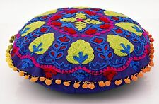 "16"" ROUND DECORATIVE FLOOR PILLOW COVER SEATING CUSHION COVER EMBROIDERED HIPPIE"