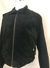 Orvis Leather Black Suede Harrington Plaid Lined Flight Bomber Jacket Mens XL