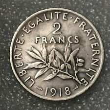 1918 FRANCE 🇫🇷 Silver Two 2 Franc Coin, (.835), 10g, scratches.