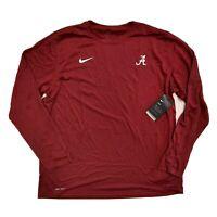 Alabama Crimson Tide Nike Dri-Fit Long Sleeve T Shirt Mens Size 2XL XXL Red NEW