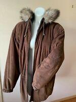 Bogner Sport Jacket Parka w/ Real Raccoon Fur Trim Brown Size 10