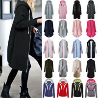 Women Warm Zip Up Hoodies Sweatshirt Long Coat Jacket Tops Cardigan Outwear US