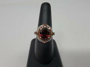 Judith Ripka? Style Ring Sterling Silver Smokey Topaz Cubic Zirconia Ring Sz 6.5