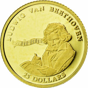 [#25493] Coin, Liberia, Beethoven, 25 Dollars, 2001, MS(65-70), Gold