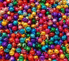 100 x  Mini Jingle Bells Multi coloured 8mm x 6mm Perfect For Christmas Crafts