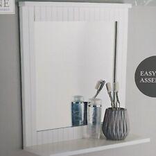 Wood Frame Bathroom Wall Mirror White wall Mounted Mirror With Cosmetic Shelf