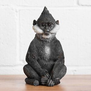 "10"" Large Black Bearded Monkey Ornament Statue Sculpture Gift Gorilla Animal Zoo"