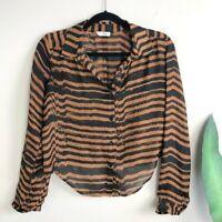 Dolce Vita Anthropologie Womens Blouse Sz XS Brown Black Striped Oversized Top