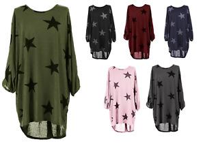Womens Oversized Italian Lagenlook Star Print Baggy Tunic Dress Blouse Top 8-22