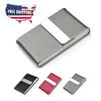 Slim Pocket Stainless Steel leather Business Card Holder Case ID Credit Wallet