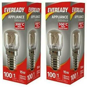 Eveready 300°C Cooker Oven Appliance Lamp Bulb 15W 240V SES Base (E14) Pack of 2