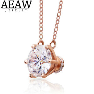 18k Rose Gold DF Color 1.0ct 6.5mm Round Cut Moissanite Pendant Necklace Gift