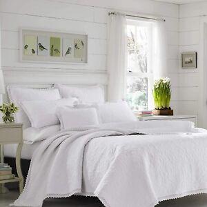Laura Ashley 3 Piece Quilt Coverlet Set 100% Cotton Soft White Queen/Full Size