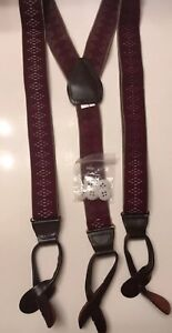 NEW Men's Burgundy & Tan Suspenders Braces Button On All Elastic & Button Packet