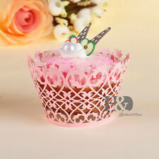 12pcs Pink Cupcake Wrappers Cases Wedding Birthday Laser Cut Cup Cake Decoration