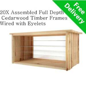 20 x Assembled Wired Full Depth Beekeeping Frames Timber Wood Beehive Frame