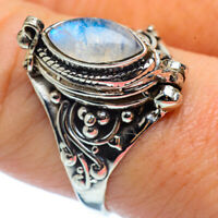 Rainbow Moonstone 925 Sterling Silver Poison Ring Size 8.5 Jewelry R37130F