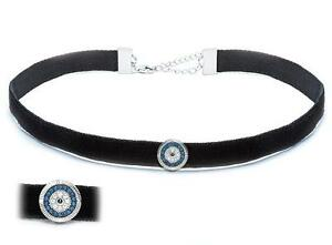 Platinum Sterling Silver Blue & White Sapphire Evil Eye Pave Leather Bracelet