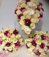 IVORY & PINK CALLA LILYS DIAMONDS PACKAGE 6 PIECE WEDDING BOUQUET  SILK FLOWERS