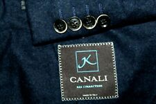 CANALI KEI Collection Made Italy Flannel Wool Suit Jacket Men's 42S Navy