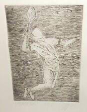 BADMINTON LIMITED EDITION SIGNED TENNIS PLAYER ETCHING