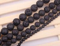 "DIY Jewelry Making 8/10mm Round Black Lava Rock Gemstone Spacer Beads Strand 15"""