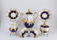 Meissen Moccaservice Prunkservice B-Form kobaltblau und Gold  Top