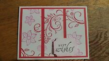 Handmade BEST WISHES Card, Stampin up Falling Flowers, Melon Mambo, Framelits